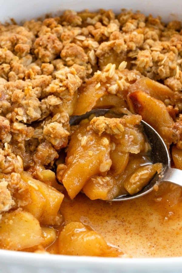 Apple crisp in a baking dish