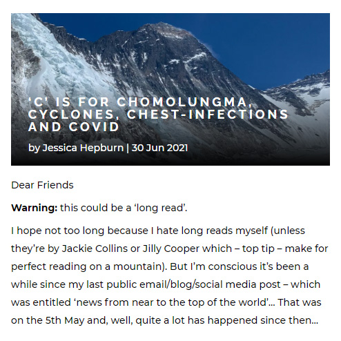 Blog post by Jessica Hepburn about her Everest attempt