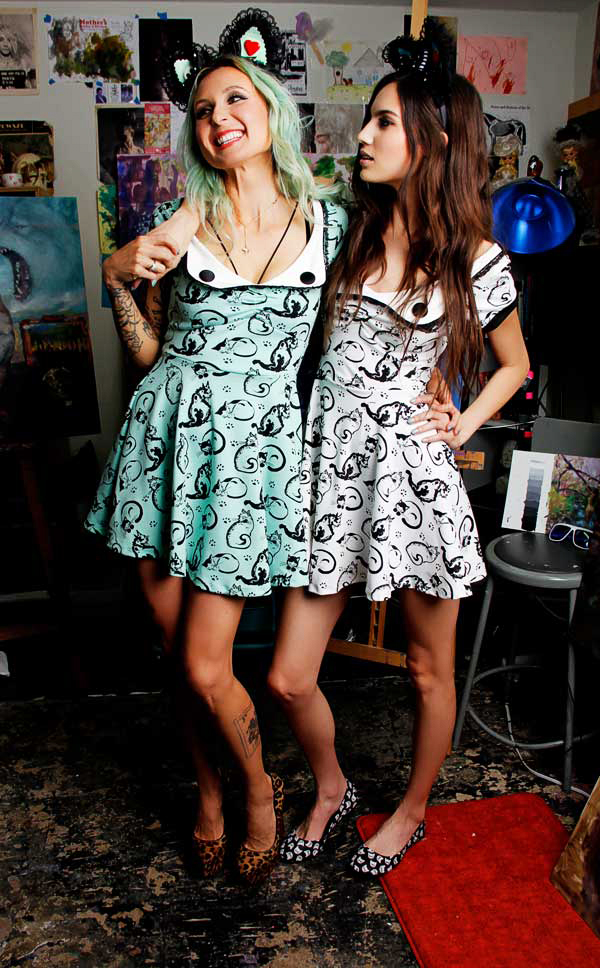 Painted cats print dress by Jessica Louise