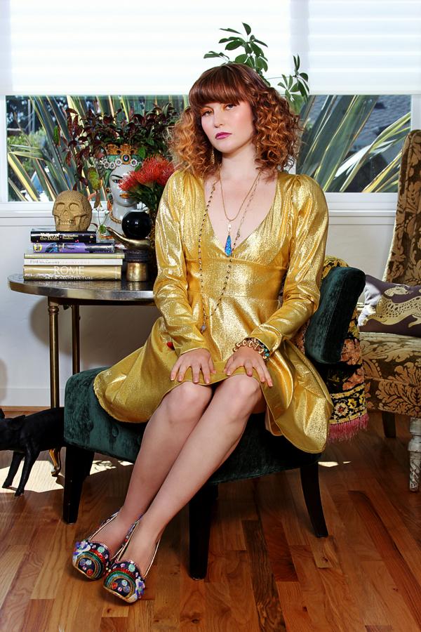 jessica louise metallic god long sleeve short dress
