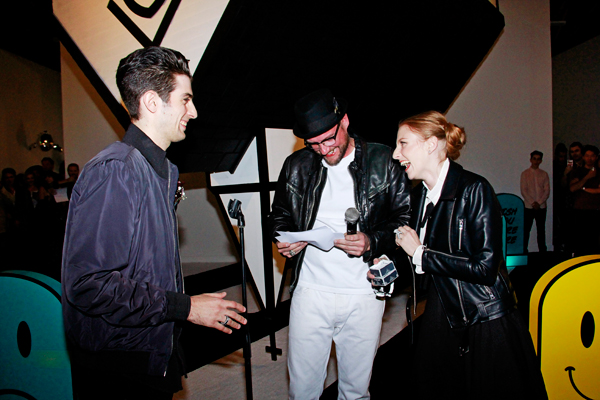 Dface officiating wedding at his opening. Corey Helford Gallery