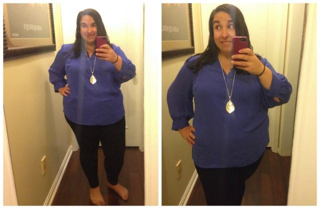 Dia and Co box reveal: Worthington Royal Blue Top, $40 (Gotta love a company that goes the extra mile for women who wear a size 10 and up! )