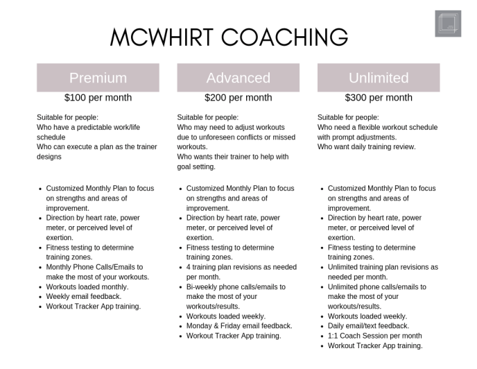 mcwhirt coaching pricing