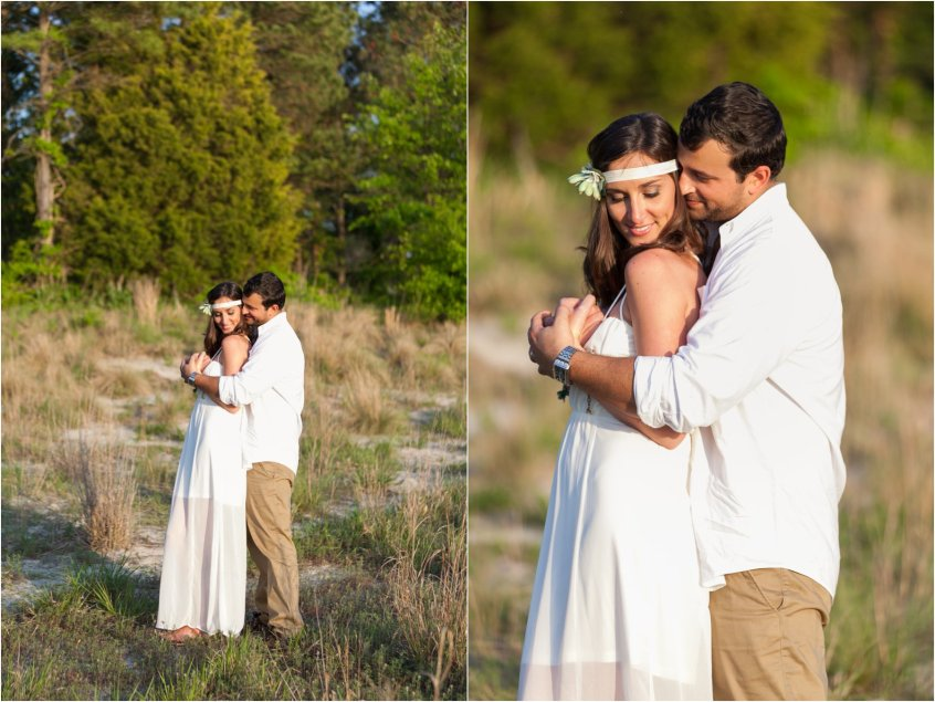 bride and groom portrait wedding bohemian wedding first landing state park virginia beach virginia