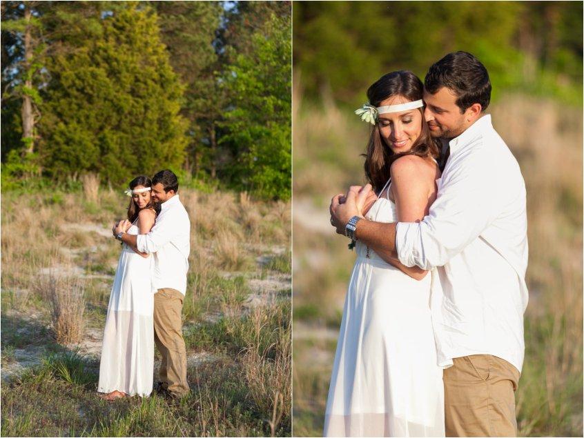 bride and groom portrait wedding bohemian wedding first landing state park virginia beach virginia