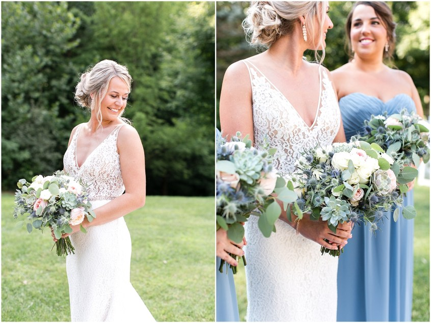 house mountain inn wedding day, bride and bridal bouquet by university florist, Jessica Ryan photography