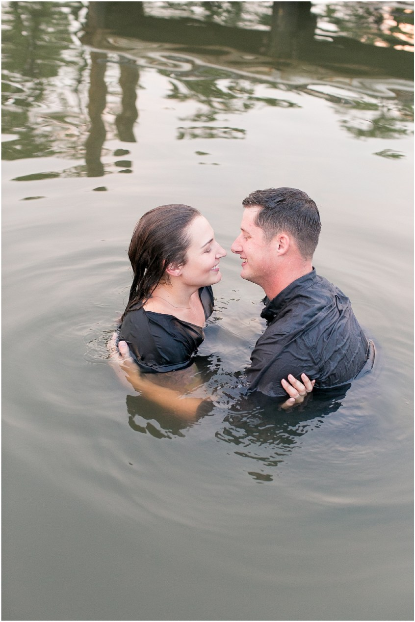 first landing state park engagement photography jessica ryan photography, jessica ryan photographer virginia beach engagement photography, couple jumped in the water