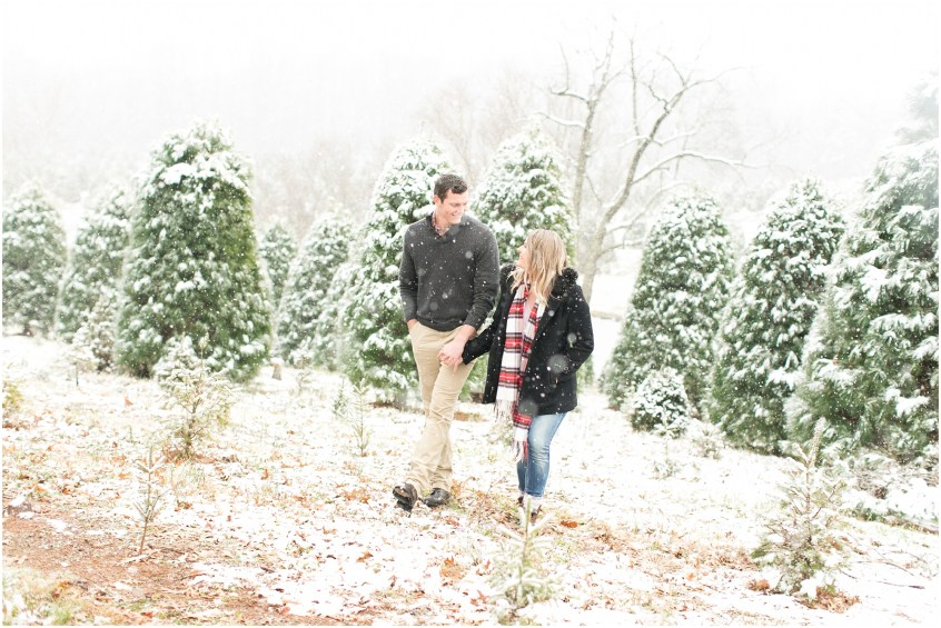 belmont christmas tree farm engagement photography winter engagement snowing
