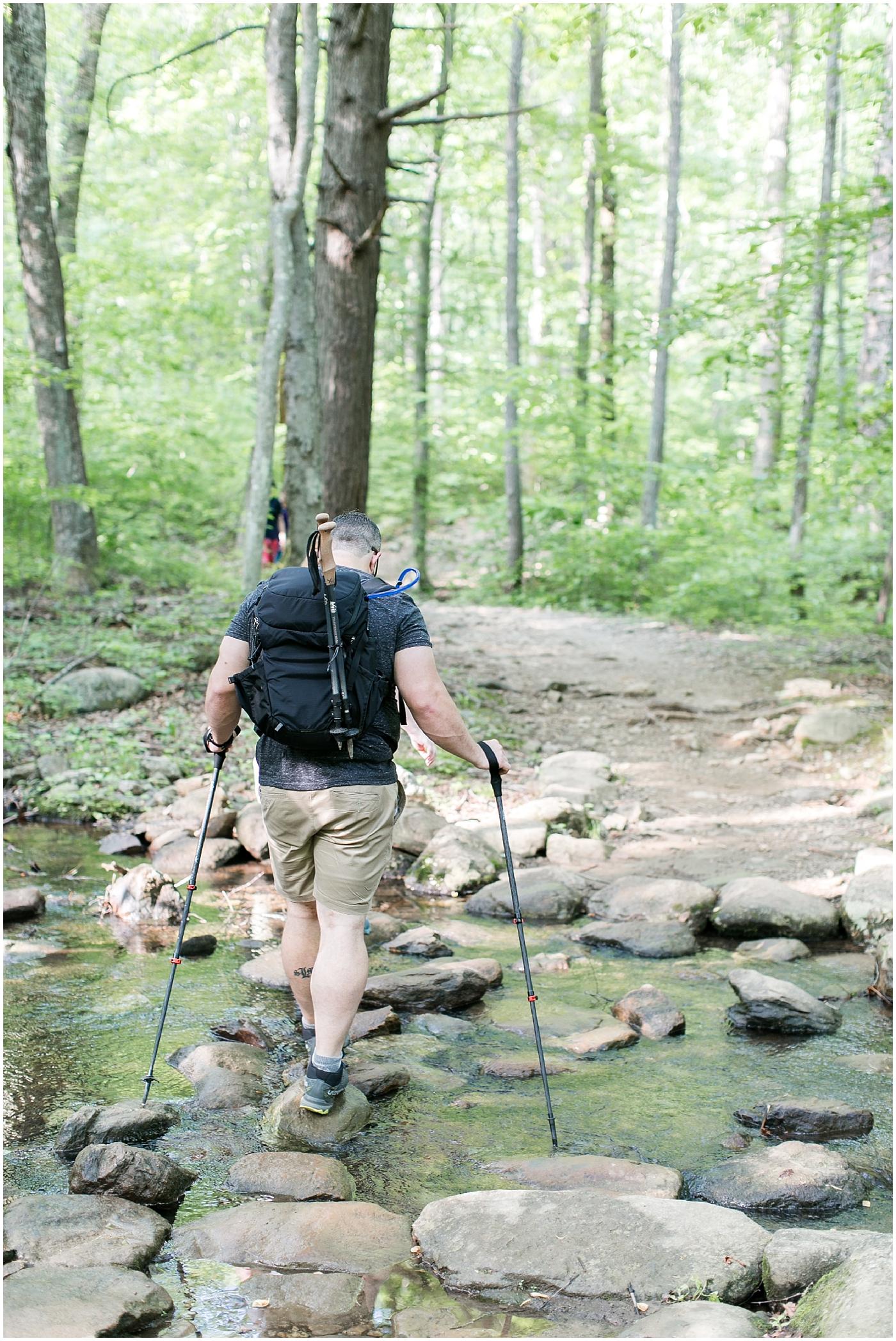white oak canyon Shenandoah valley couple hiking portraits