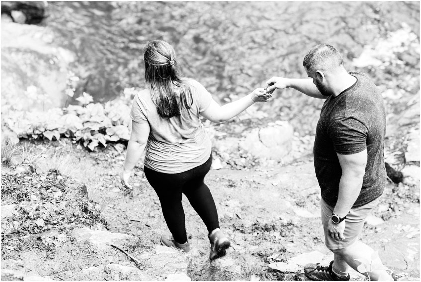 white oak canyon Shenandoah valley couple hiking portraits