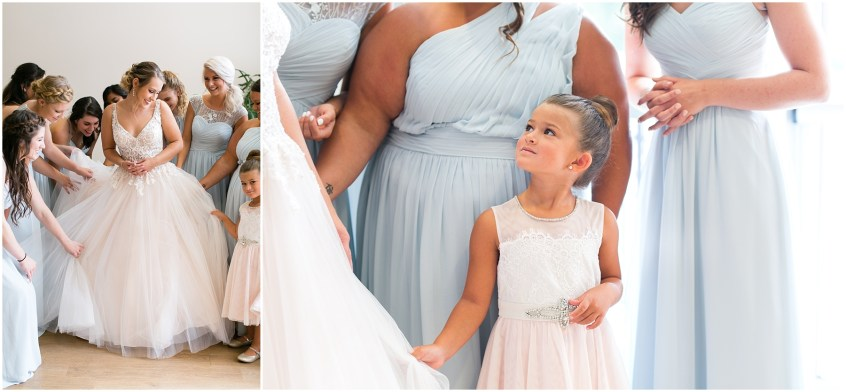 virginia beach wedding photography, candid wedding photography, bride getting into her wedding dress, here and now bridal wedding dress, jessica ryan photography