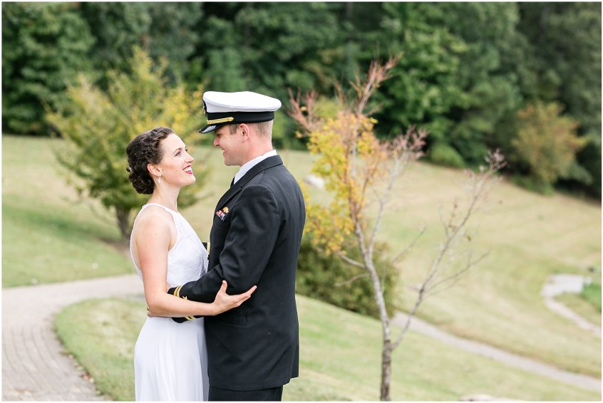Mariner's Museum Wedding, bride and groom candid and romantic portrait