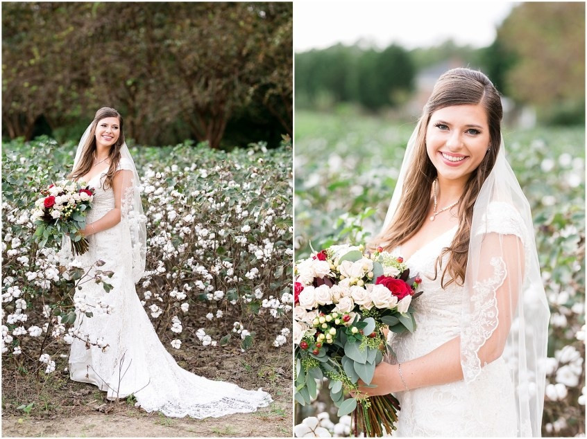 Planter's Club Wedding, Suffolk Virginia, southern wedding, bride in cotton field
