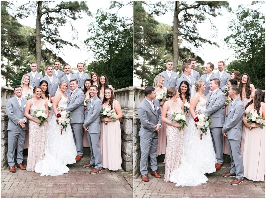 bridal party portraits at norfolk botanical gardens wedding day, jessica ryan photography, fluttering flowers, jessica ryan photography, studio i do, blush by hayley paige wedding dress, blushtones, flawless onsite,