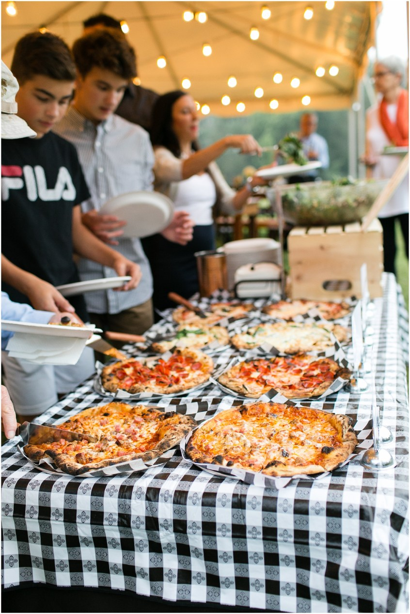 richmond casual backyard wedding reception, pizza food truck