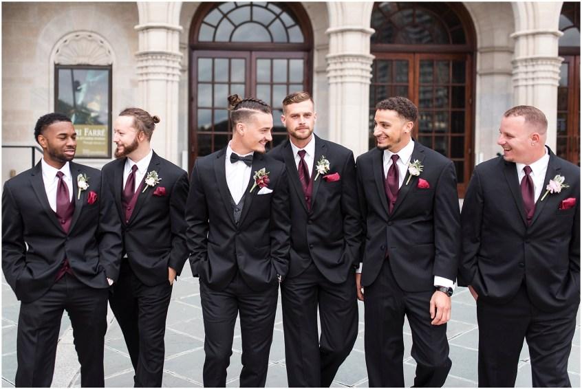 bridal party at chrysler museum wedding, norfolk, virginia, fall wedding