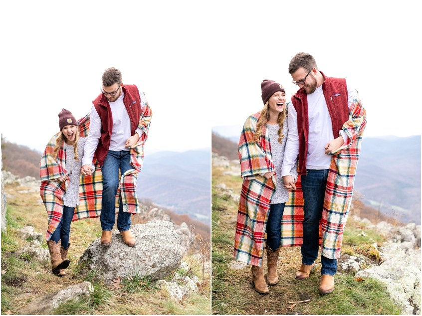 blue ridge parkway engagements, ravens roost candid couple photography, camping couple, hiking couple, adventurous couple