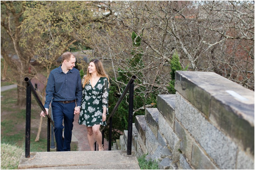 Fort Monroe Anniversary photography, couple walking up the stairs