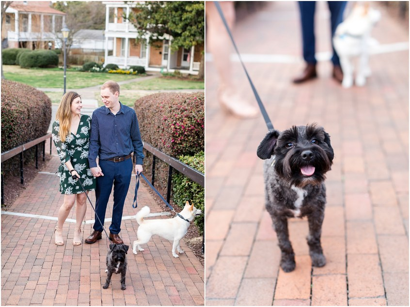 Fort Monroe Anniversary photography, couple walking dogs