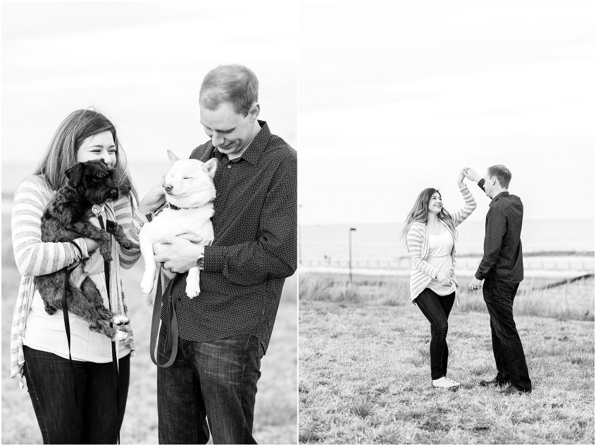 Fort Monroe Anniversary photography, couple with their dogs, couple dancing