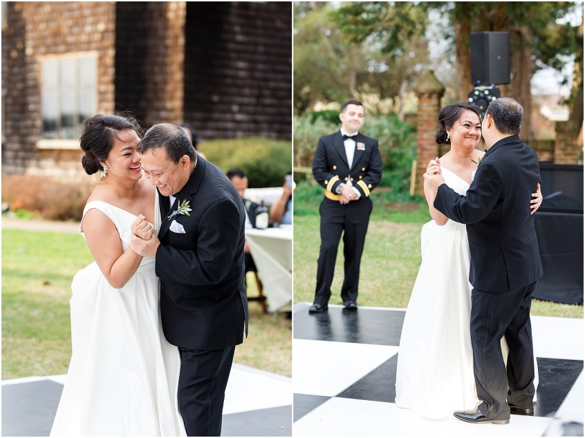 father and daughter dance, spring wedding at the hermitage museum and gardens, Jessica Ryan photography, sunkissed events, outdoor wedding reception,