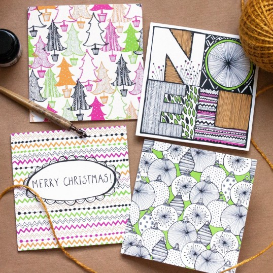 Christmas Doodle Greetings Card Pack of 4, a zentangle inspired Christmas greetings card pack by Jessica Wilde Design © Designed and made in England.