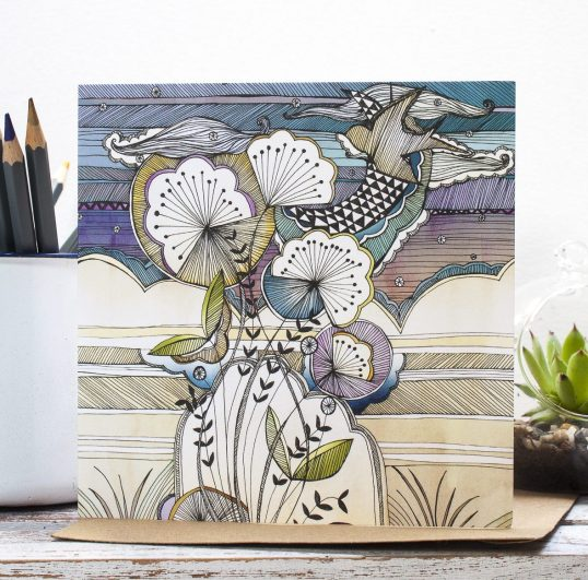 Night Sky Floral Blank Gift Card, an original zentangle inspired illustration. Designed in Staffordshire, made in the UK by Jessica Wilde Designs ©