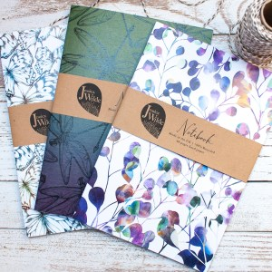 A5 Recycled Botanical Notebooks, pick from 3 including bumble bees, cats, penguins, ladybirds, dragonflies, beetles, bugs, butterflies and more. Proudly made in the UK from 100% recycled paper and card stock. Jessica Wilde ©