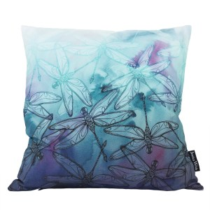 Dragonfly Scatter Throw Cushion, a vibrant botanical pattern featuring dragonflies layered with watercolour. Made in the UK | Jessica Wilde Design ©