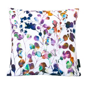 Botanica Floral Throw Cushion, a vibrant botanical pattern featuring floral trails layered with watercolour. Made in the UK | Jessica Wilde Design ©