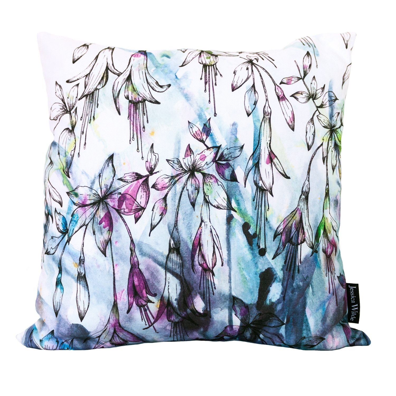 Fuchsia Floral Throw Cushion, a vibrant botanical pattern featuring hand drawn fuchsias layered with watercolour. Made in the UK   Jessica Wilde Design ©