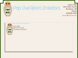 Pop Owl Stationery Layout