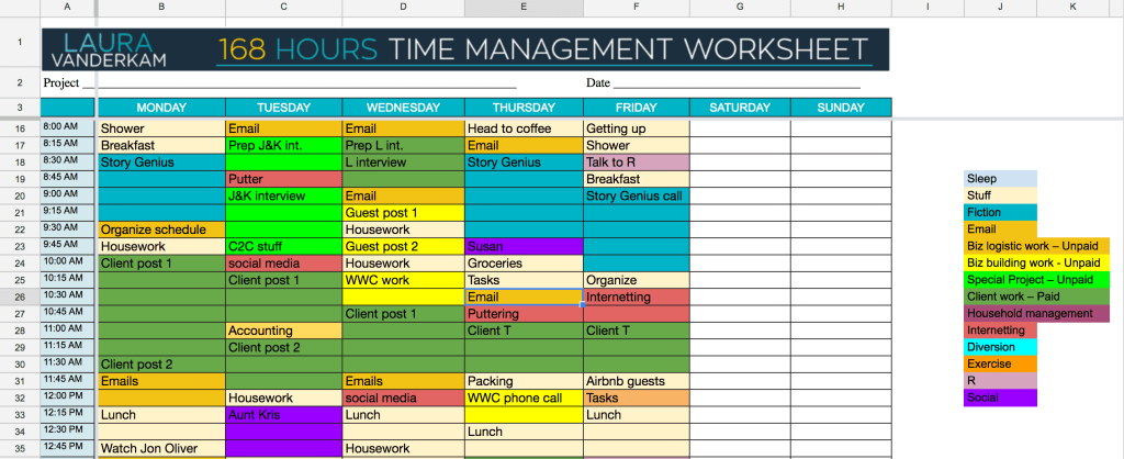 Time management spreadsheet #1