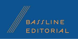 Bassline Editorial logo, blue and orange