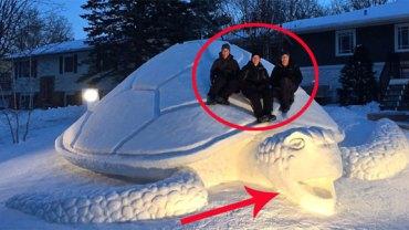 Każdego roku ci trzej bracia tworzą na własnym podwórku ze śniegu coś naprawdę niezwykłego! Zobaczcie koniecznie!