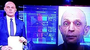 Niezręczna chwila, w której prezenter orientuje się, że jest łudząco podobny do groźnego przestępcy pokazanego na ekranie…