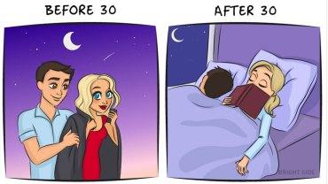 Tak wygląda życie przed i po trzydziestce. Zobaczcie, jak czas zmienia naszą codzienność i spojrzenie na świat