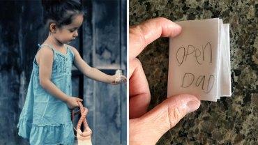 Dziewczynka przybiegła do ojca i powiedziała, że ma dla niego ważną wiadomość. Dała mu złożoną karteczkę, która dała mężczyźnie wiele do myślenia
