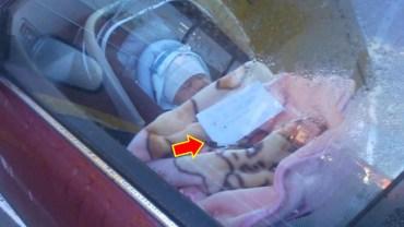 Matka zamknęła noworodka w samochodzie i poszła na zakupy. Na kocyku zostawiła karteczkę, która jeszcze bardziej rozjuszyła przechodniów!