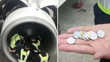 Pasażerka potraktowała samolot jak fontannę i wrzuciła do jego silnika monety. Grosiki nie przyniosły szczęścia lotowi. Samolot wystartował z pięciogodzinnym opóźnieniem!