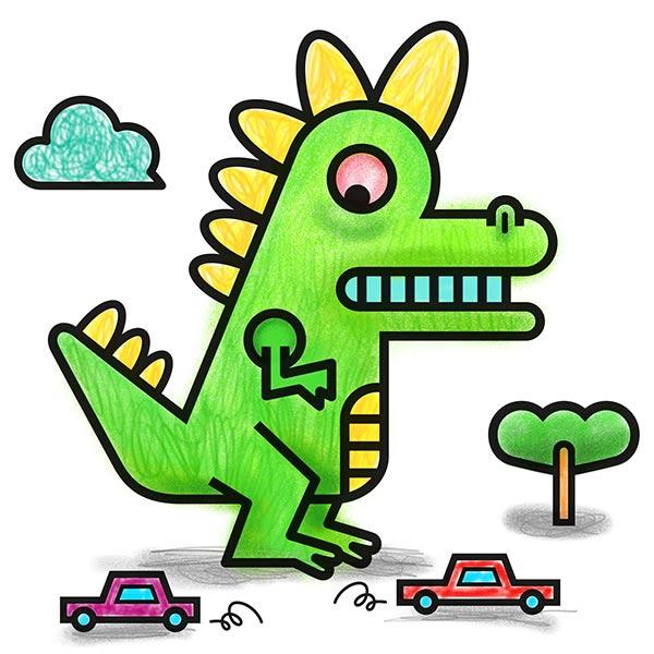Coloriage d'un dinosaure