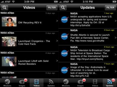 Les vidéos et actualités de la NASA - Application iPhone