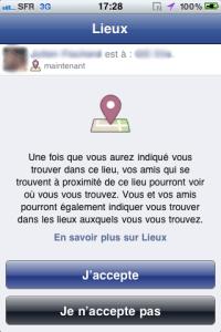 Facebook active le partage de lieux sur son application iPhone 4