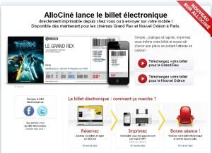 Le billet de cinéma devient électronique avec Allociné