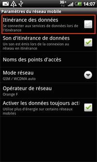 Désactiver l'échange de data mobile et internet à l'étranger sur Android 5