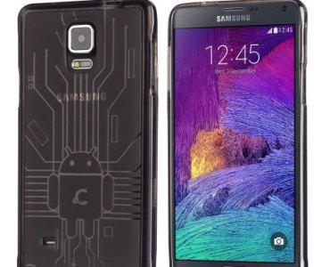Test de la coque Cruzerlite Bugdroid Circuit Noire Fumée pour Samsung Galaxy Note 4 4