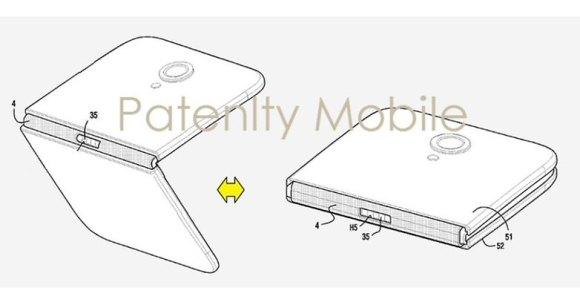 Images du brevet de Samsung et du smartphone à écran pliable.
