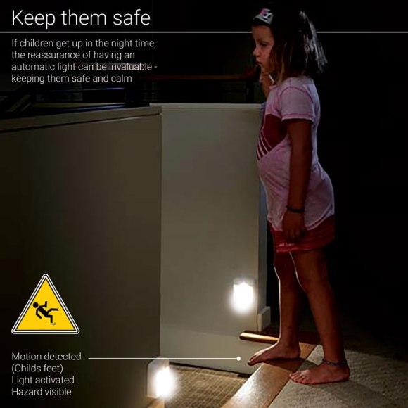 lampe led safe stairs 580x580 - Test de la lampe de nuit à LED AGL avec détecteur de mouvements