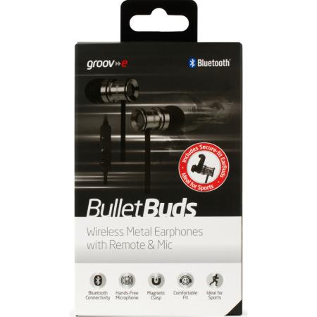 Boite des écouteurs bluetooth Groov-e Bullet Buds Metal avec micro argent