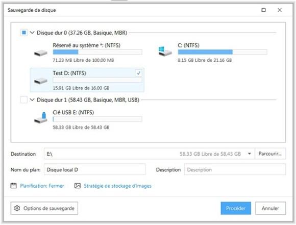 Sauvegarde de partition avec EaseUs backup free